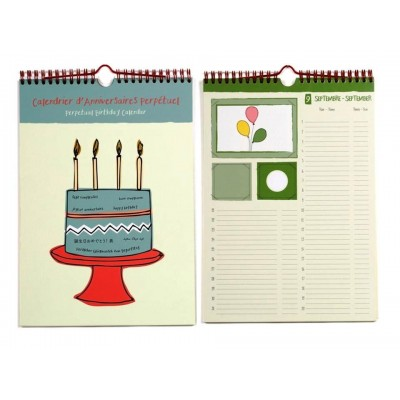 Charming A4 Perpetual Birthday and Anniversary Calendar