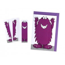 Monster Greeting Card & Bookmark - Dazzling Purple