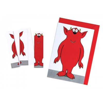 Monster Greeting Card & Bookmark - Colourful Red