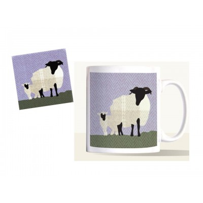 Decorative Mug & Coaster Set - Woolly Sheep