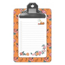 Decorative Pocket Size Clipboard - Peach Flowers