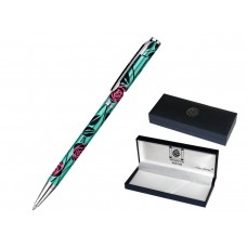 Decorative Charles Rennie Mackintosh Pink Rose and Emerald Green Design Pen in a Deluxe Gift Box
