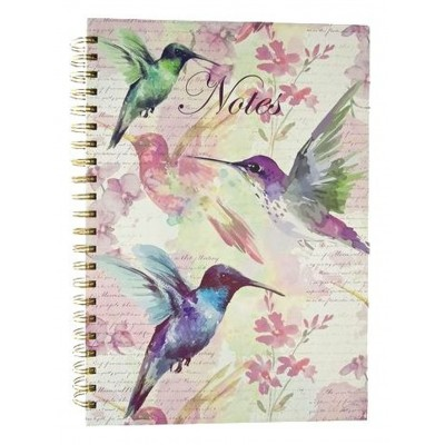 Decorative A4 Spiral Bound Notebook - Hummingbird Design
