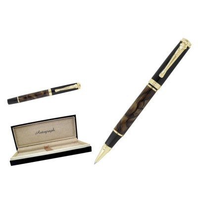 Cambridge Gentleman Design - Deluxe Brown Marble and Gold Plated Rollerball Pen